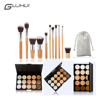 GUJHUI Professional Makeup Concealer Palette Set Make Up Cream Camouflage Contouring Kit With 11Pcs Bamboo Handle Makeup Brush(China)