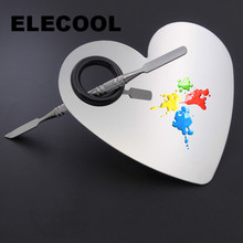 ELECOOL 1 set Heart shape Stainless Steel Cosmetic Makeup Palette Spatula Tool Makeup Artist Essential Tools Kit Beauty tools(China)