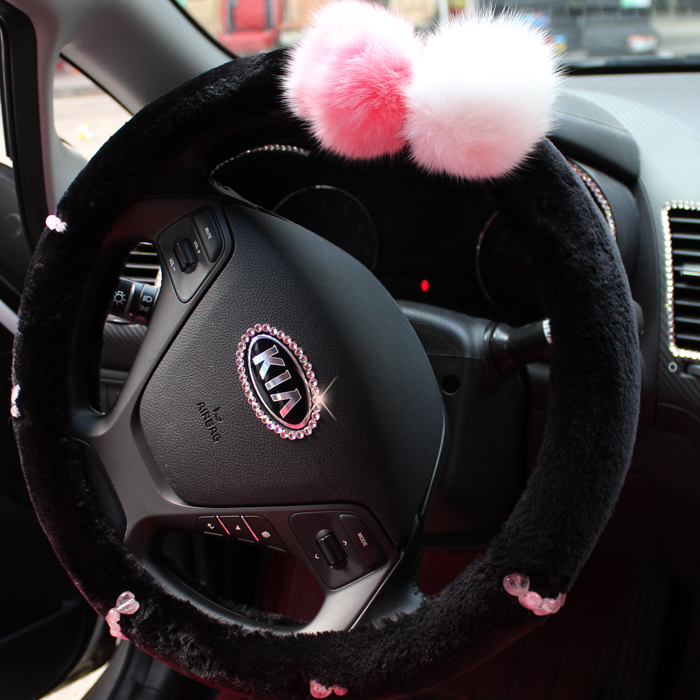 Black SHORT FLOSS Natural Stones Winter steering wheel cover car interior accessories for girls 38cm for Kia ceed K2; <br>