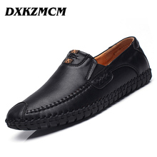 DXKZMCM Brand Cow Split Leather Men Flat Shoes Brand Moccasins Men Loafers Driving Shoes Fashion Casual Shoes