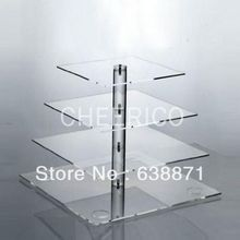 Transparent 4 Tier wedding favors Cake Stand For Weddings Perspex Birthday Cupcake Display Stand