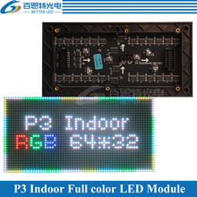P3 Indoor 1/16 Scan 3in1 RGB P3 Full color LED module for LED display screen 192*96mm 64*32 pixels(China)