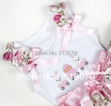 White Pettitop With Bunny Rabbit Egg Print with Light Pink Rose Fusion Ruffles & Light Pink Bow MATB284