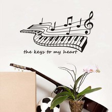 The Keys To My Heart Piano Wall Stickers For Room Decorations Diy Pvc Music Notes Decals Children Gift Mural Arts Removable(China)