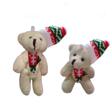 2pcs/lot,H=8cm, W=10G,cream color,  Plush Christmas joint bear with Christmas hat, Christmas tree pendent, Stuffed teddy bear, t