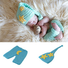 Blue Color Star Moon Crochet Baby Photography Props Knitted Baby Elf Hat&pants Set Baby Unisex Photo Props Crochet MZS-16083