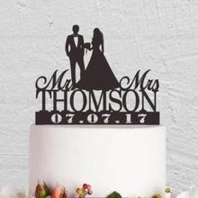 Custom Wedding Cake Topper - Personalized Monogram Cake Topper - Mr and Mrs - Cake Decor - Bride and Groom Black Gold Silver
