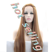 In Stock Light Brown Hair Wig Long Silky Straight Synthetic Lace Front Wigs For Black Women Heat Resistant Fiber Free Shipping