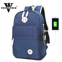VKINGVSIX Canvas USB backpacks school bags teenagers women laptop schoolbag backpack mochila girl back pack bagpack sac a dos