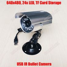 640x480 VGA USB IR Bullet Camera 3.6mm Lens Waterproof Night Use Home Security Mobile DVR Camera TF Card Storage Loop Record