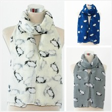 100% Viscose Oblong Scarf Lovely Penguin Print 180x90cm 3 Colours Available