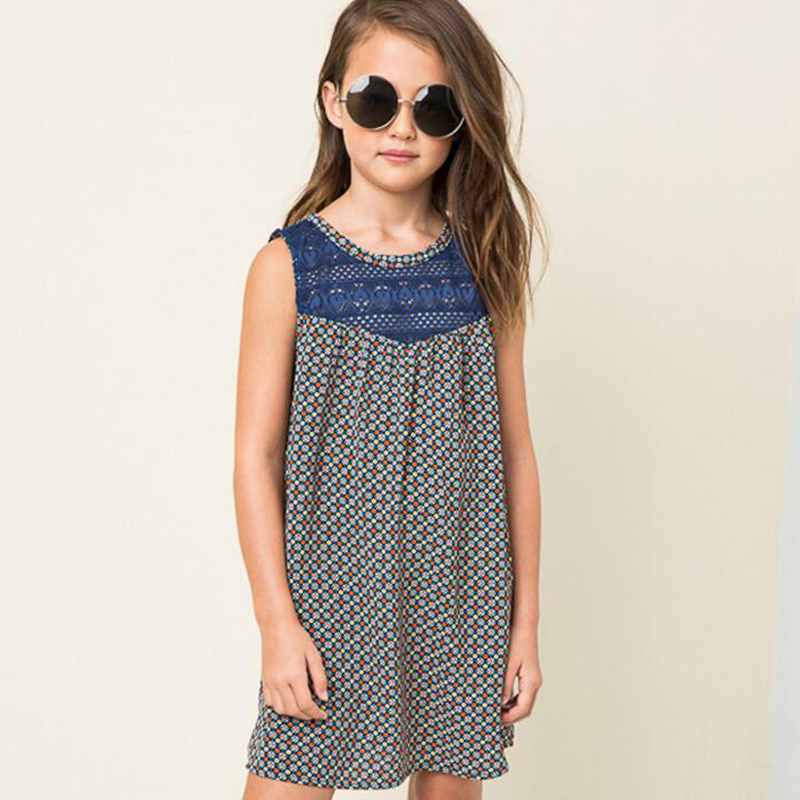Autumn Girl Dress Kids Clothes 2017 Girls Lace Dress Floral Print Princess Sleeveless Dress Girls Clothes <br><br>Aliexpress