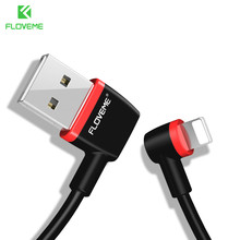 FLOVEME USB Cable For Lightning 1m 2.1A Fast Charge L Bending Data USB Cable For iPhone 8 7 X 6 6s For iPad Right Angel IOS Cabo(China)