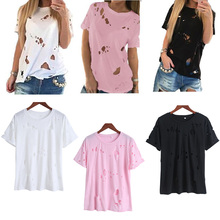 2017 Summer Holes T Shirt Women Fashion Sexy Black White Cotton Short Sleeve Ripped Tops Shirts Casual Loose T-Shirt XS-L