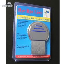 Blister packingTerminator Lice Comb Nit Free Kids Hair Rid Headlice stainless steel Metal Teeth remove nit brush Blue(China)