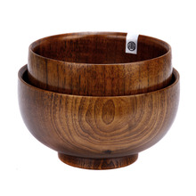 1 pc HOMESTIA Japanese Jujube Wood Bowl Pure Color Unbreakable CHinese Style Rice Soup Fruit Bowl Kitchen Utensil Tableware(China)