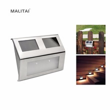 LED Solar light Sensor control Waterproof Wall lamp For Outdoor Patio Yard Pathway Garden Stairs Step Night Security lighting(China)