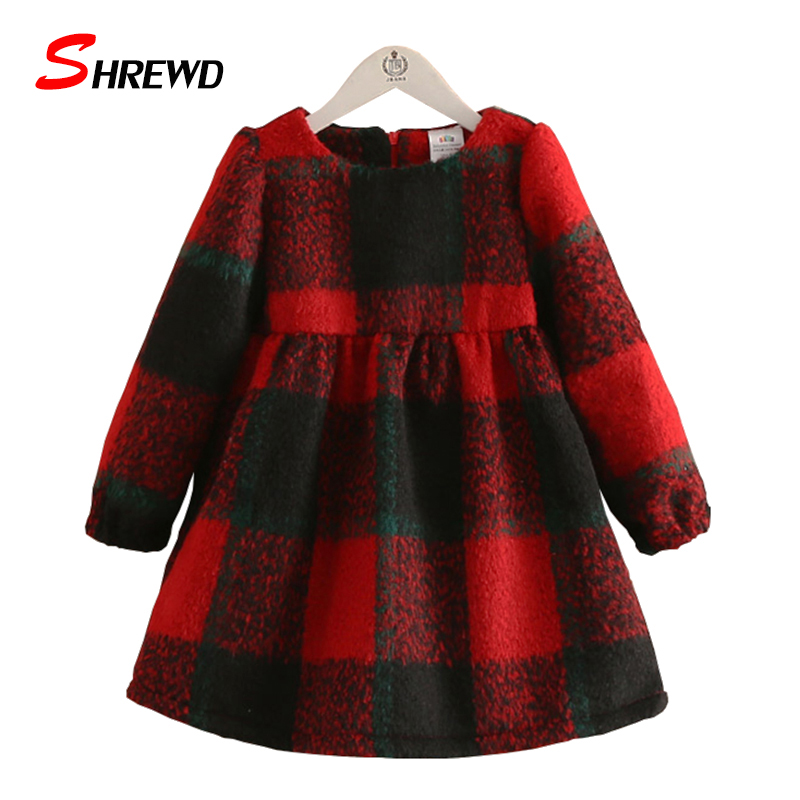 Kids Girl Dress Winter 2017 New Fashion Plaid Dresses For Girls Plus Velvet Thick Long Sleeve Baby Girl Clothes 4394Z<br><br>Aliexpress