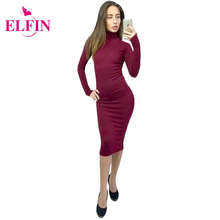 Buy Knitted Sweater Dress Women Turtleneck Long Sleeve Sexy Slim Bodycon Dress Knee-Length Party Dresses Vestidos WS3737R for $10.79 in AliExpress store