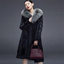 2017 Fashion Long Fur Coat Women Winter X-Long Faux Mink Fur Coats Female Plus Size 3XL 4XL Thick Warm Outwear A1400