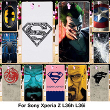 Silicone Phone Covers Cases Sony Xperia Z L36h C6602 5.0 inch C6603 L36i Case Plastic TPU Captain America Batman Logo Cover - Blue Mill 3C Products Online Super Market store