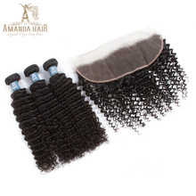 Amanda Brazilian Kinky Curly Virgin Hair 4 Bundles With 13*4 Frontal Closure Unprocessed Brazillian Human Hair Weave(China)