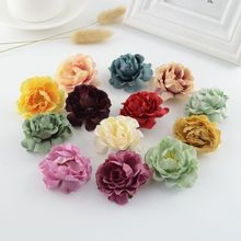 10pcs wedding car decoration artificial flowers roses for home DIY Wreath Bride bouquet Decorative Gift Cloth peony silk flowers(China)