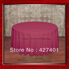 "Hot Sale  132"" R Hot Pink Round Table Cloth Polyester Plain Table Cover for Wedding Events &Party Decoration(Supplier)"