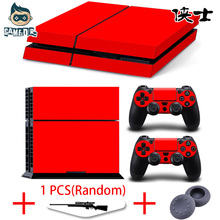 Color Colors Designer Red Green Blue Yellow Vinyl Decal Skin Sticker for Play Station 4 PS4 Console + 2 Controllers Skins