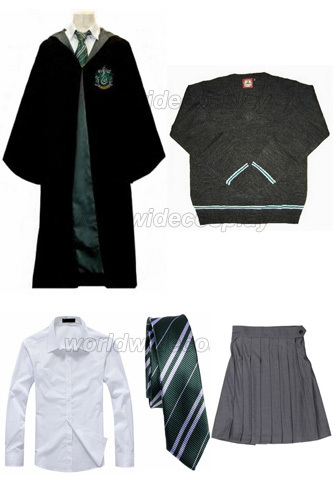 Free Shipping Harry Slytherin Cosplay Robe Cloak Pullover Sweater Shirt Skirt Necktie Badge Custom Made for Christmas