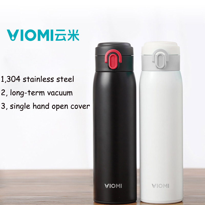 Original Xiaomi VIOMI Thermos Cup Stainless Steel Vacuum Cup 24 Hours Flask Water Bottle Cup Thermos 480ML Single Hand ON/Close(China (Mainland))