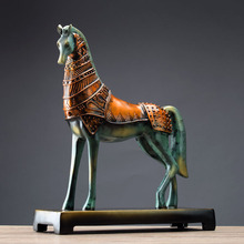 American retro horse ornaments study desk bookcase Decor model room entrance decoration process