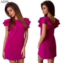 AZZPL 2017 Womens Summer Style Sexy Backless Beach shirt dress Red Green O-neck short sleeve Mini Party Club Dresses Vestidos