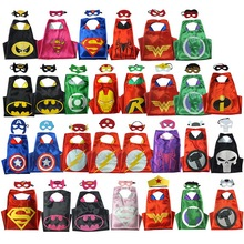 Halloween Super Hero Cape Spiderman For Cosplay Party Children Kids Cosplay fantasias Captain Amercican (1CAPE+1MASK)70*70cm(China)