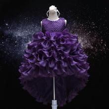 2017 New Style Purple Flower Girls Dresses Bow Kids Pageant Party First Communion Dresses for Little Girls Wedding Dresses