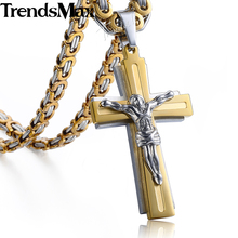 Buy Trendsmax Men's Necklace Cross Jesus Pendant Stainless Steel Byzantine Chain Gold Silver Necklace Men KKP503 for $5.49 in AliExpress store
