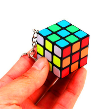 5pcs/lot Mini Rainbow Cube Key Chain 3x3 Magic Cube Creative Cube Hang Decorations for Learning&Educational Child Toys- Colorful(China)