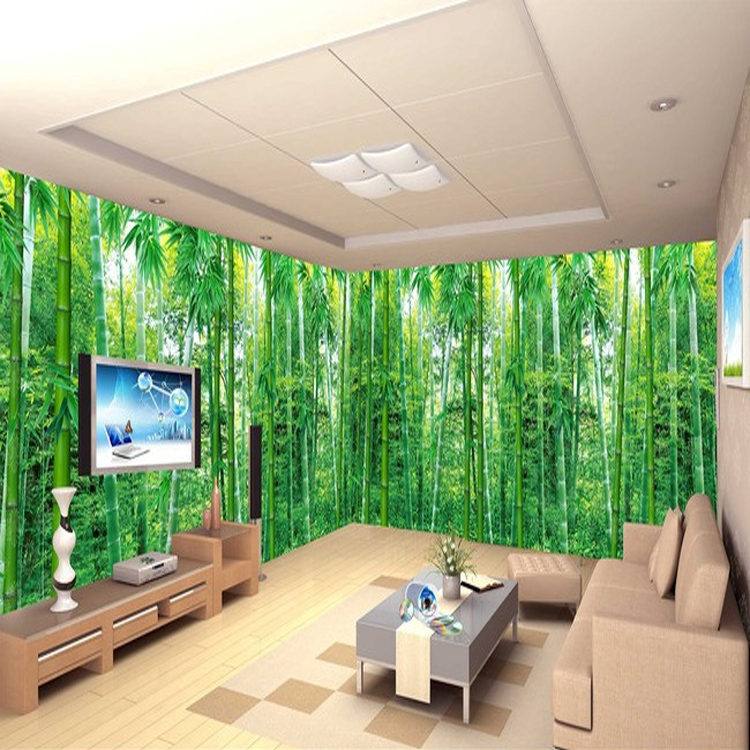 Taille Photo Jardin Paysage Bambou D Stro Papier Peint Salon Salle Manger  Chambre Fond Vert Papier Peint Murale Dans Fonds Ducran De.