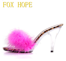 Shoes Woman Summer Sandals Feathers Slides Sexy High - heeled Shoes 10cm Model Catwalk Transparent Glass Crystal Slippers