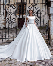 Amdml 2017 Jeweled Belt Chic Modern Soft Satin Simple A Line Wedding Dress with Pockets Cathedral Train Robe De Mariage