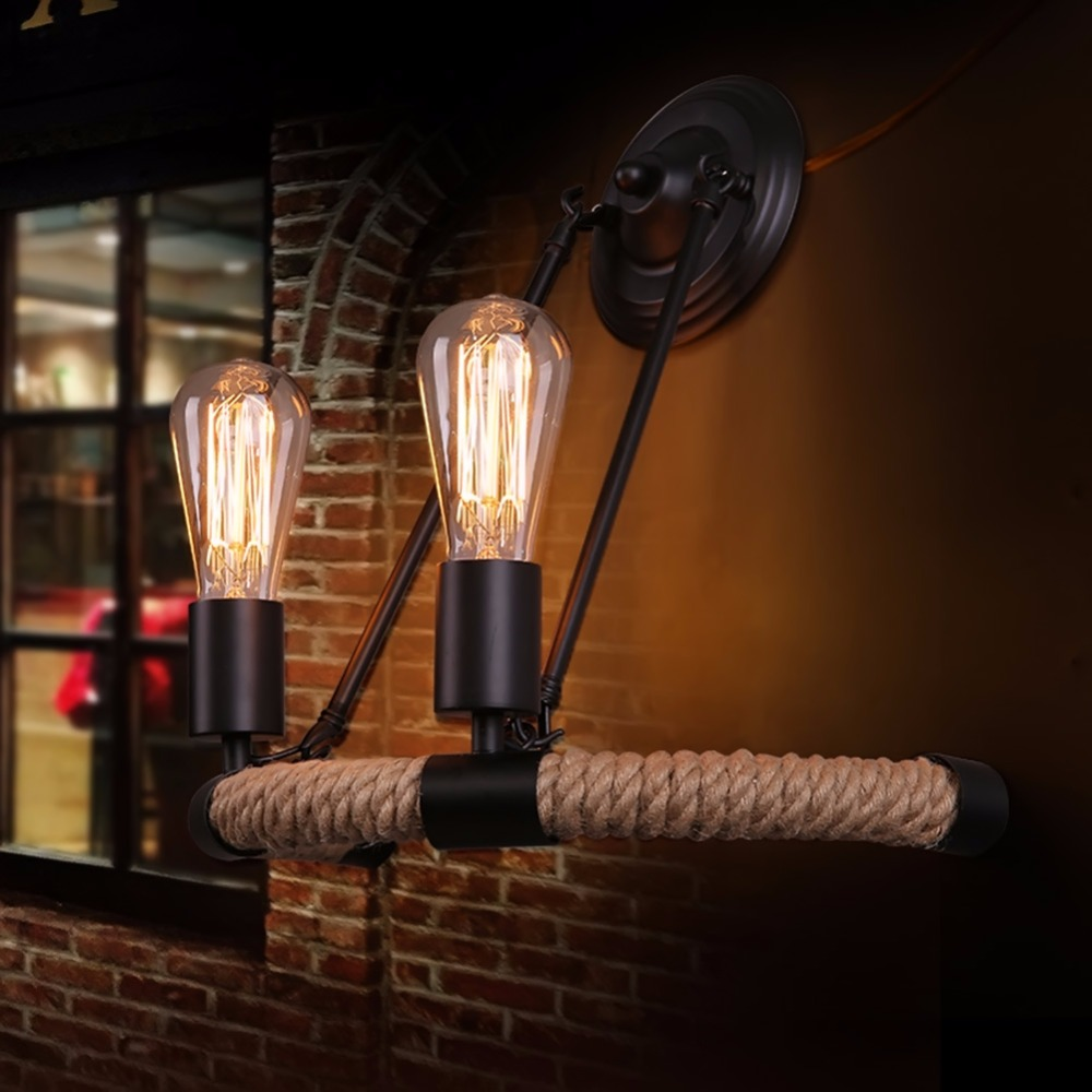 Retro Design Lamp Light Minimalist Balcony Staircase Wall Sconce Lights Semicircle Hemp Wall Light for Home Lighting Decoration<br>