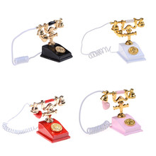 1PCS Hot Sale 1/12 Doll House Furniture Miniature Retro Phone Vintage Telephone for Barbie Doll Accessories 5 Colors(China)