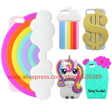 Fashion Rainbow Cloud Cactus Unicorn Pony Cat Cupcakes Lipsticks 3D Silicone Phone Cover Case For iPhone 7 Plus
