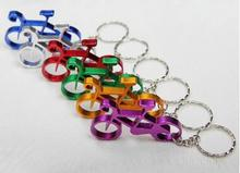 200pcs whosesale aluminum sport bike shaped bottle opener keychains bicycle beer openers ring promotion gift mix colors