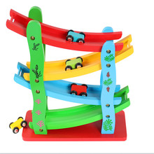 Candywood Baby Kids Wooden Ladder Gliding Car Wooden slot Track Car Toys Educational Model to Slide toy for children boy gifts(China)