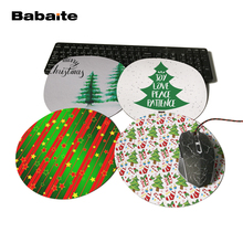 Babaite Design Tree of Christmas Present Unique Desktop Pad Mousepads Computer Animation Round Mouse Mat Round Mice Pad