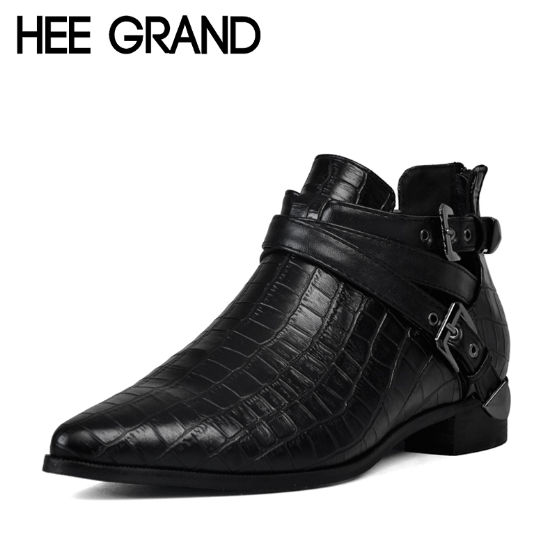 HEE GRAND Autumn Women Boots 2017 Fashion PU Leather Shoes Woman Crocodile Ankle Buckle Boots Platform Flats Size 35-39 XWX1312<br><br>Aliexpress