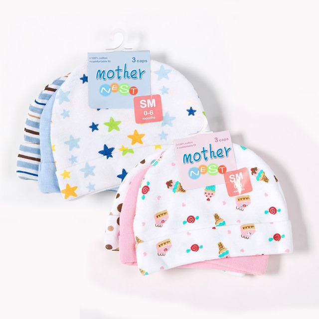 Mother Nest 3pcs Lot Baby Hats Pink Blue Star Printed Caps