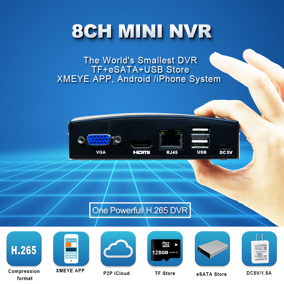 Smar Newest 4CH 8CH Super Mini NVR CCTV NVR Recorder for 5MP 4MP Onvif IP Camera,Cloud P2P,eSATATFUSB,Remote Control