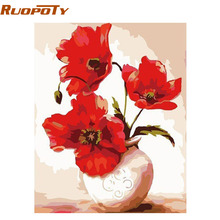 RUOPOTY Europe Red Vase DIY Painting By Numbers Home Decor Wall Artwork Handpainted Oil Painting For Living Room Decoration 4050(China)